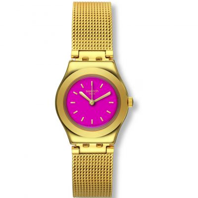 Swatch Irony Lady Irony Big -Twin Pink Damenuhr in Gold YSG142M