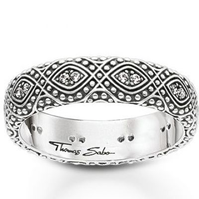 Ladies Thomas Sabo Sterling Silver Size K.5 Ethno Ornamentation Ring TR2092-643-14-50
