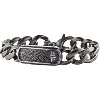 Mens Police Black Ion-plated Steel Anvil Bracelet 25696BSE/02-L