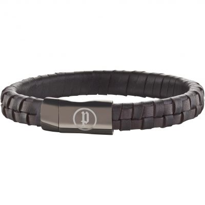 Mens Police Black Ion-plated Steel Connector Bracelet 25689BLC/02-L