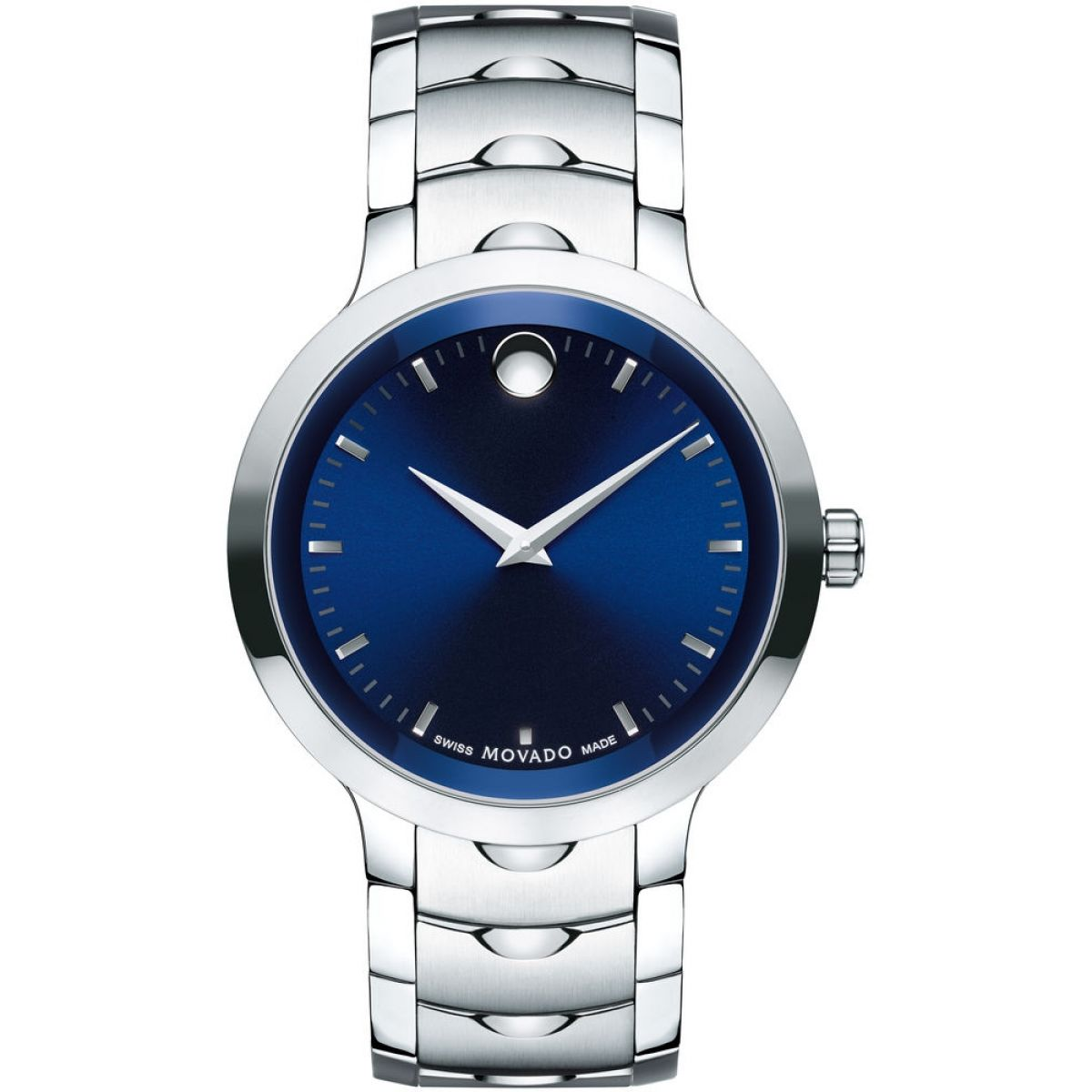 watch luno mens s steel dial stainless blue men movado watches