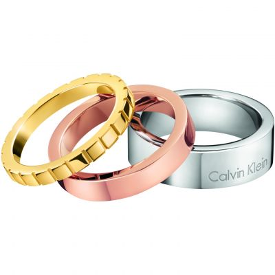 Ladies Calvin Klein Two-Tone Steel and Rose Plate Size N Wonder Ring Set KJ5MDR300107