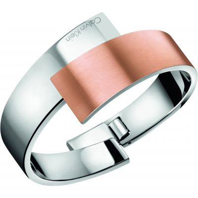 Calvin Klein Dames INTENSE BANGLE SIZE S Tweetonig staal en verguld Rose KJ2HPD28010S