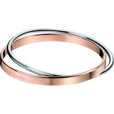 Ladies Calvin Klein Two-Tone Steel and Rose Plate Extra Small Coil Bangle KJ63BB0101XS