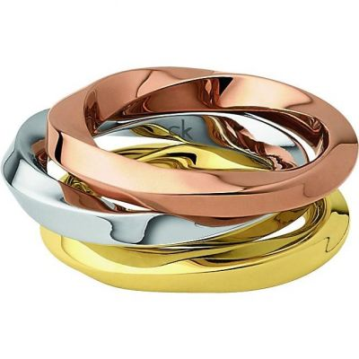 Ladies Calvin Klein Two-tone steel/gold plate Size L Exclusive Ring KJ0KDR300106