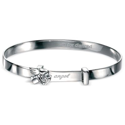 Childrens D For Diamond Sterling Silver Bangle B4072