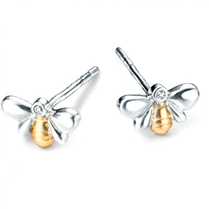 Childrens D For Diamond Sterling Silver Earrings E4818