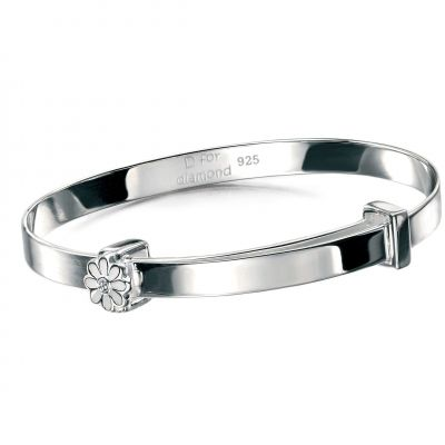 Childrens D For Diamond Sterling Silver Bangle B4316