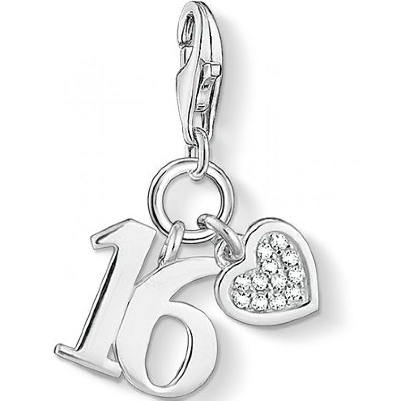 Ladies Thomas Sabo Sterling Silver Charm Club Lucky Number 16 Charm 1358-051-14