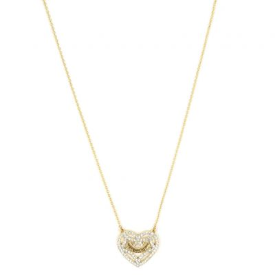 Damen Juicy Couture Iconic Pave Open Heart Halskette PVD vergoldet WJW825-710-U