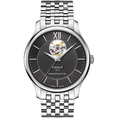 Tissot Tradition Open Heart Powermatic 80 Herenhorloge Zilver T0639071105800