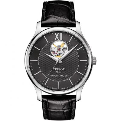 Tissot T-Classic Tradition Open Heart Powermatic 80 Herrenuhr in Schwarz T0639071605800
