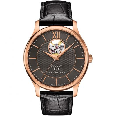 Tissot T-Classic Tradition Open Heart Powermatic 80 Herrenuhr in Schwarz T0639073606800