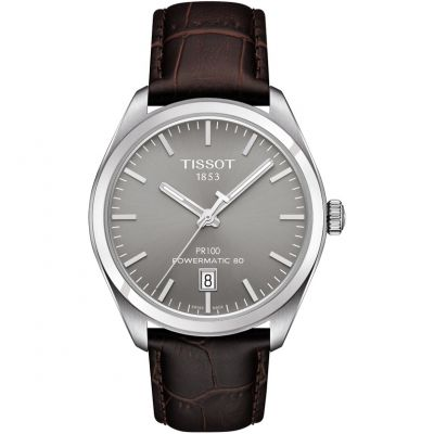 Tissot T-Classic PR100 Powermatic 80 Herrenuhr in Braun T1014071607100