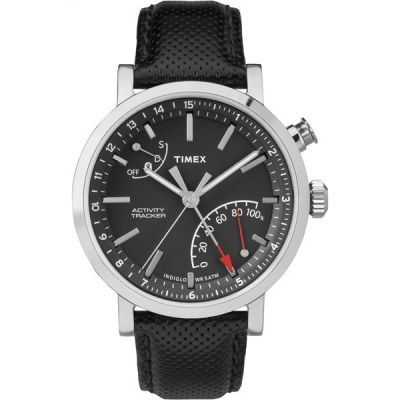 Timex IQ+ Metropolitan+ Activity Tracker Bluetooth Hybrid Smartwatch Herrenchronograph in Schwarz TW2P81700