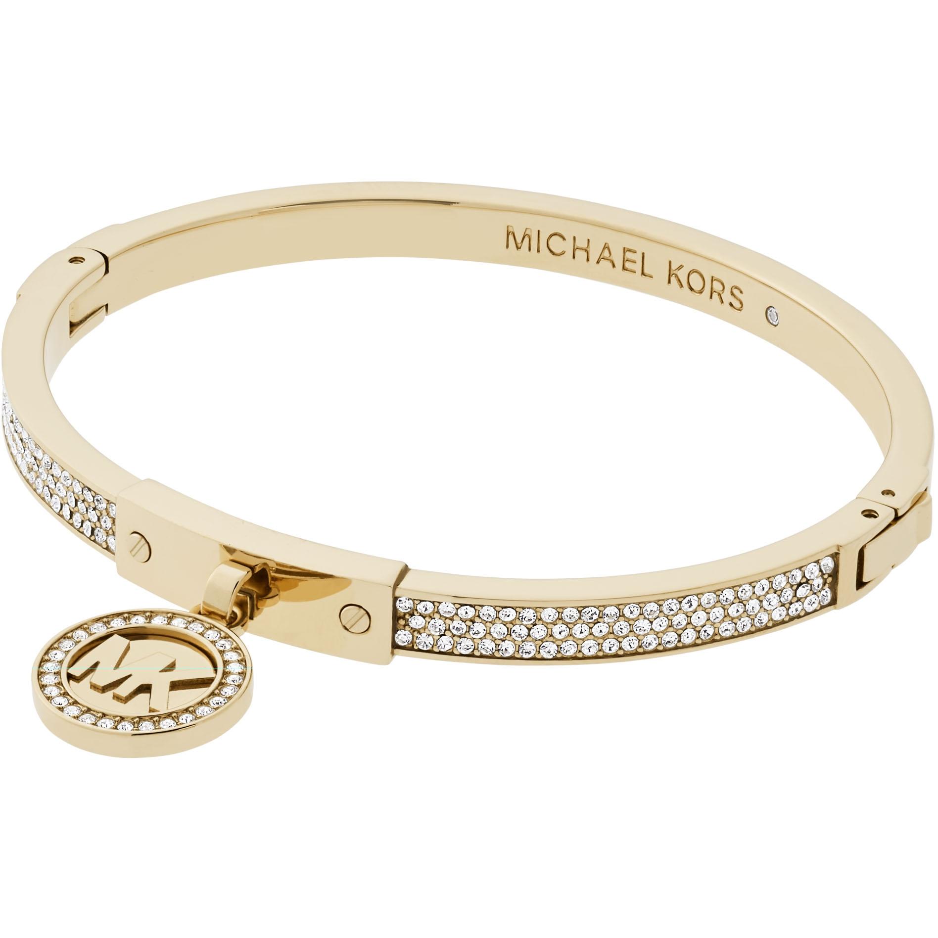 80122eeb75033 Ladies Michael Kors Jewellery PVD Gold plated Hinged Bangle (MKJ5976710)