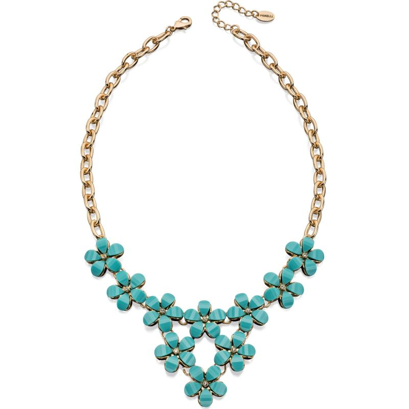 Ladies Fiorelli PVD Gold plated Blue Stone Flower Necklace N3942