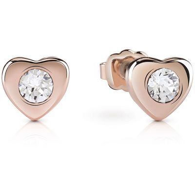 Ladies Guess Rose Gold Plated Little Heart Stud Earrings UBE61085