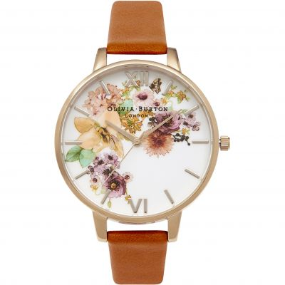 Painterly Prints Tan & Rose Gold Watch
