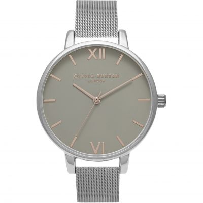 Grey Dial Silver Mesh Watch
