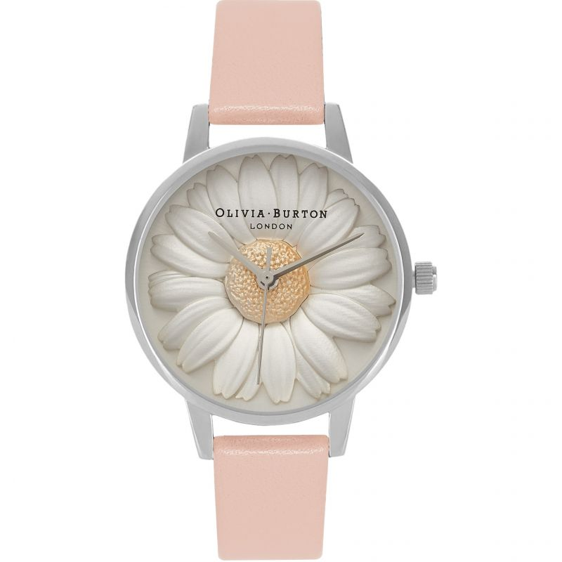 3D Daisy Silver & Dusty Pink Watch