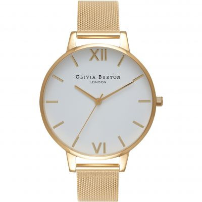 White Dial Mesh Gold Mesh Watch