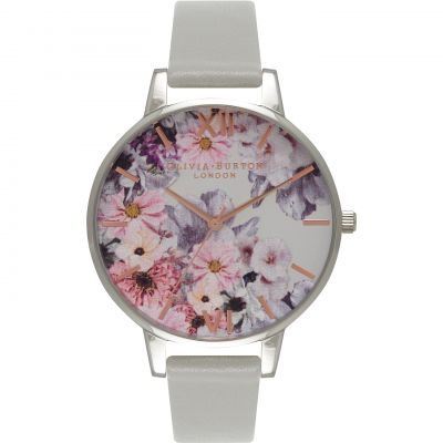Enchanted Garden Floral Silver & Grey Watch