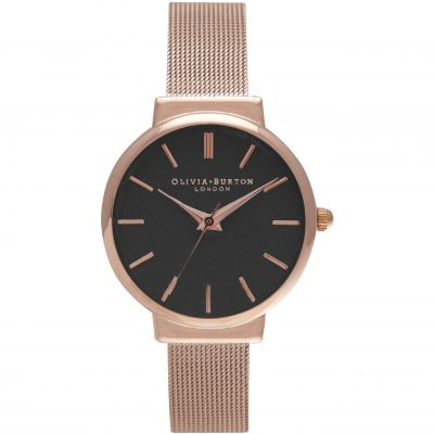 The Hackney Black & Rose Gold Watch