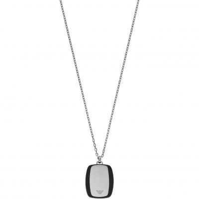 Mens Emporio Armani Stainless Steel Carbon Stripe Necklace EGS2187040