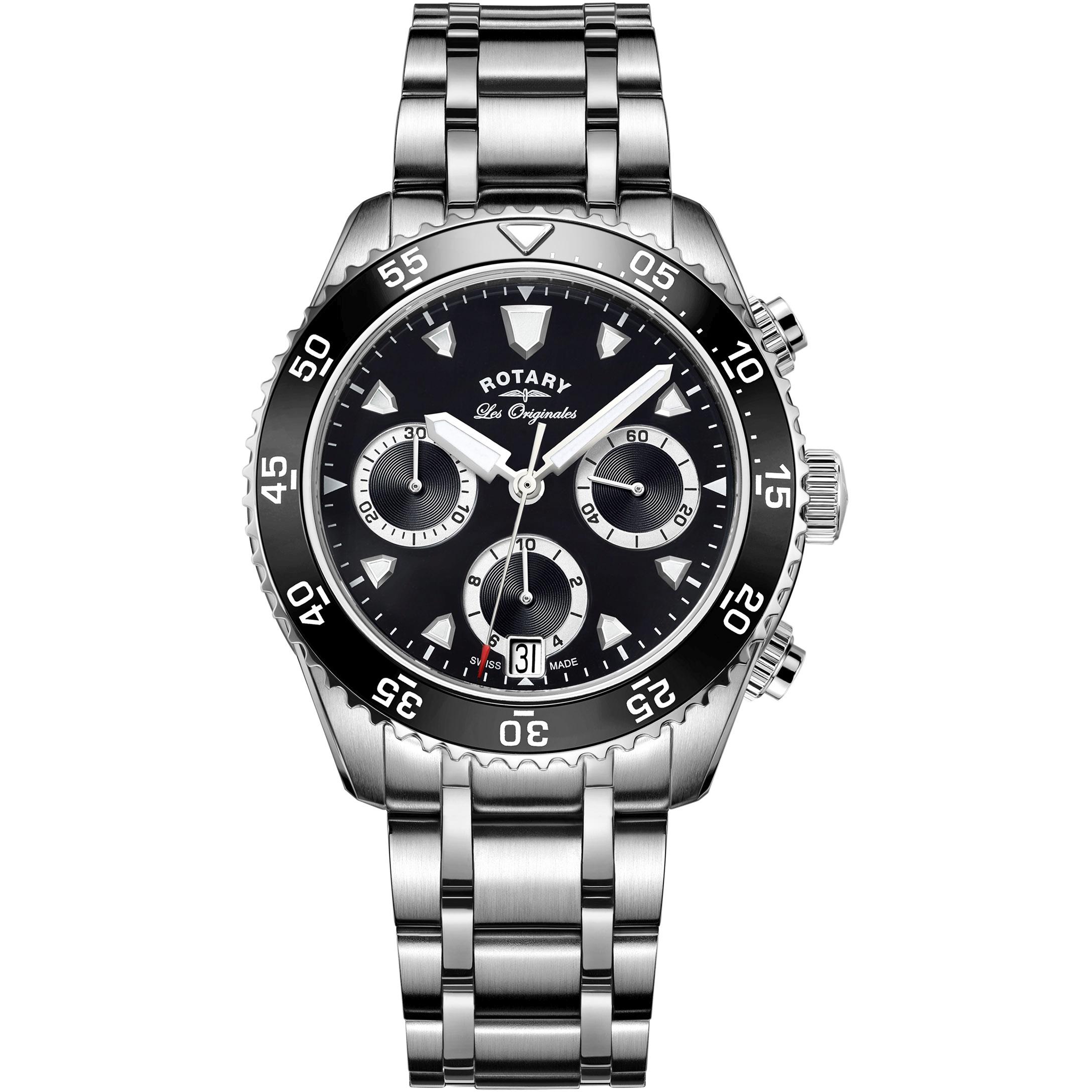 f4126542cf78 Gents Rotary Swiss Made Legacy Dive Quartz Chronograph Watch (GB90170 04)