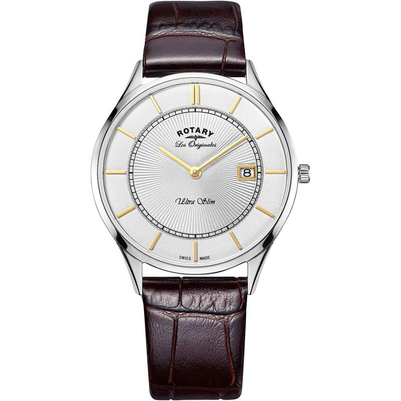 Mens Rotary Swiss Made Ultra Slim Quartz Watch