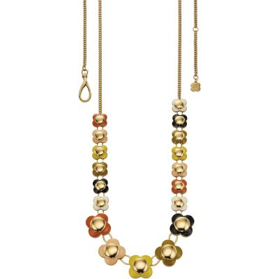Ladies Orla Kiely Multi colour gold Long Flower Necklace N4021