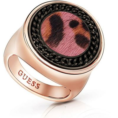 Ladies Guess Rose Gold Plated Animal Twist Ring UBR82003-54