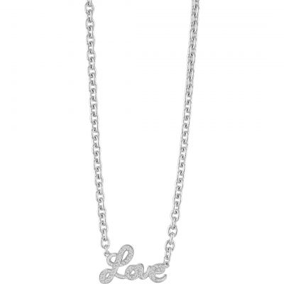 Ladies Guess Silver Plated Blazing Love Necklace UBN82062