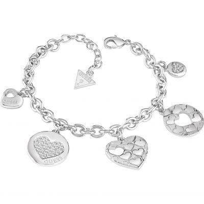 Damen Guess Heart Devotion Armband rhodiniert UBB82048-L
