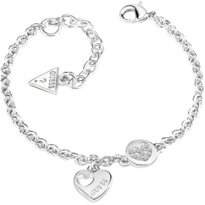 Damen Guess Heart Devotion Armband rhodiniert UBB82057-L