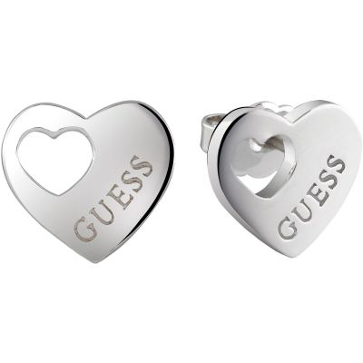 Ladies Guess Heart Devotion Silver Earrings